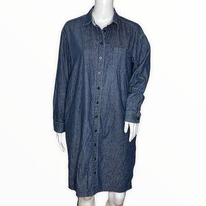 Uniqlo Denim Shirt Dress Blue Dark Wash Long Sleeve